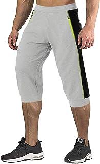 Gopune Men's 3/4 Jogger Capri Pants Gym Workout Running Shorts with Zipper Pockets
