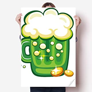 Four Leaf Clover Beer Ireland St.Patrick's Day Sticker Poster Decal 31x22