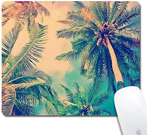 Mauspad mit genähten Kanten, Hawaii-Palme Kundenspezifisches Design Erweitertes Gaming-Mauspad Rutschfeste Gummibasis Ergonomisches Mauspad für Computer - Schwarzes Rechteck