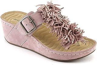 db7f9bb74b85f Amazon.com: pink suede sandal - 2