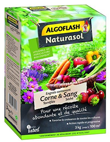 ALGOFLASH NATURASOL Engrais contenant de la Corne torréfiée et Sang Séché, Jusqu'à 100m², 3 kg, ACORNBIO3