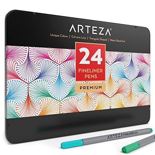 ARTEZA Estuche de rotuladores de punta fina | 24 rotuladores de colores con forma triangular | Puntas metálicas de 0,4 mm