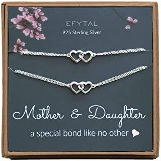 EFYTAL Mom Gifts, 925 Sterling Silver Double Heart Necklace & Bracelet Set for Mother & Daughter, Mom Necklaces for Women, Best Birthday Gift Ideas, Pendant Mother's Jewelry For Her, Mothers Day