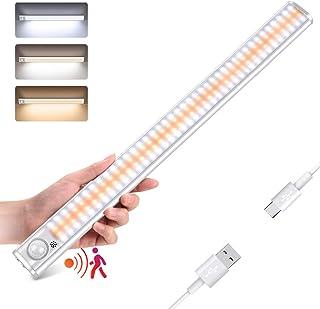 Lampe de Placard 160 LED,Détecteur de Mouvement Lumiere Led Placard Sans Fil 1800mAh 3 Modes USB Rechargeable,Bande Magnet...