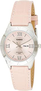 Casio Women's Pink Dial Leather Band Watch - Ltp-1410L-4Avdf, Pink Band, Analog Display
