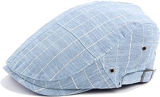 Striped Beret Cap Autumn Cotton Thin Stitching Cap Vent Hole Beret Visor Hats & Caps (Color : Light blue, Size : 56-58cm)