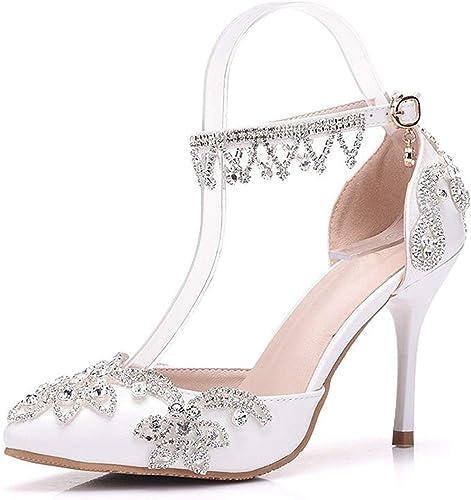 ZHRUI Damas Puntiagudas Dedo Satinado Apliques Nupcial Boda Tobillo Cadenas zapatos (Color   blancoo-10cm Heel, tamaño   5 UK)