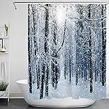 Schneewald Duschvorhang Weiß Schneeflocke Winter Holz Badvorhänge mit Haken Wasserdicht Anti Schimmel Polyestergewebe Badezimmer Dekor