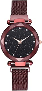 Watch Women Magnet Stone Watch Leisure Net Chain Watch Magnet Stone Bell Glass Mirror Ladies Watch Geometric Surface Starry Sky Watches (Red)