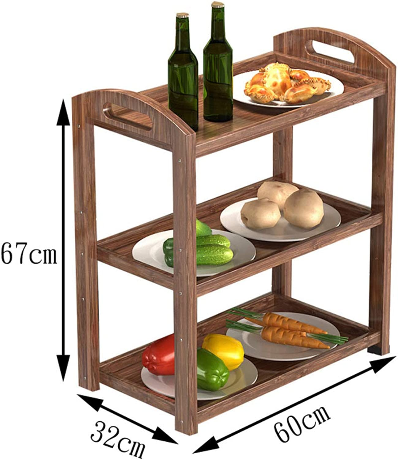Kitchen Dining Rolling cart Trolley,Restaurant Trolley Kitchen Vegetable Serving Wood Three-Tier Food Rack Dining Kitchen cart-R