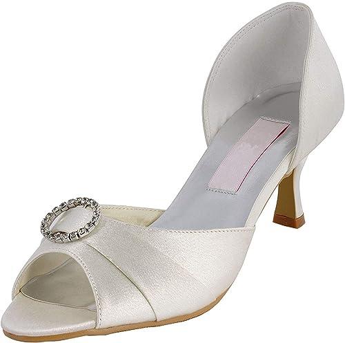 Qiusa Para damen MZ578 Peep Toe Med Heel Rhinestone Satin Boda Nupcial schuhe Sandalias (Farbe   Ivory-6.5cm Heel, tamaño   5 UK)