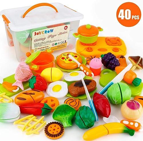 JoyGrow 40 Piezas Alimentos de Juguete Cortar Frutas Verduras, Accesorios de Cocina Juego de Comida,Educación Juegos ...