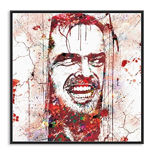Aquarel Shining Jack Nicholson Halloween Pop Horror Film Art Print Poster Muurfoto Canvas Schilderij Home Deco -70x70cm Geen Frame