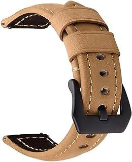 سوار / اوستيك يد مصنوع يدويًا من الجلد مع مشبك أسود من الفولاذ المقاوم للصدأ لساعة هواوي GT2 / GT - اللون البيج
