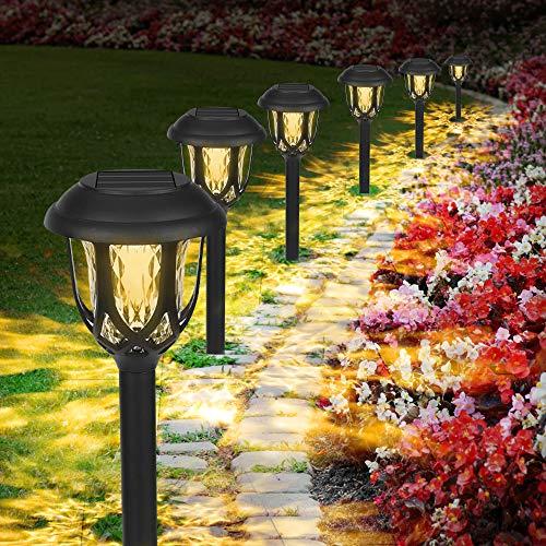 Solarleuchten Garten Warmweiß, 6 Stück Wasserdichte Solar Gartenleuchte, LED Außenleuchte Solarlampen, Solar Wegeleuchte Dekorative Licht für Außen Garten Patio Rasen Terrasse Fahrstraßen (Schwarz)