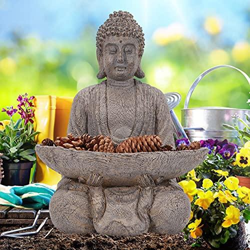 Nacome Meditating Buddha Statue Figurine,Zen Garden Buddha Sculpture w/Holder-Indoor/Outdoor Decor for Home, Garden,Deck,Porch Yard Art Decor-with Natural Pinecones,Antique Woodcut Look(Brown)