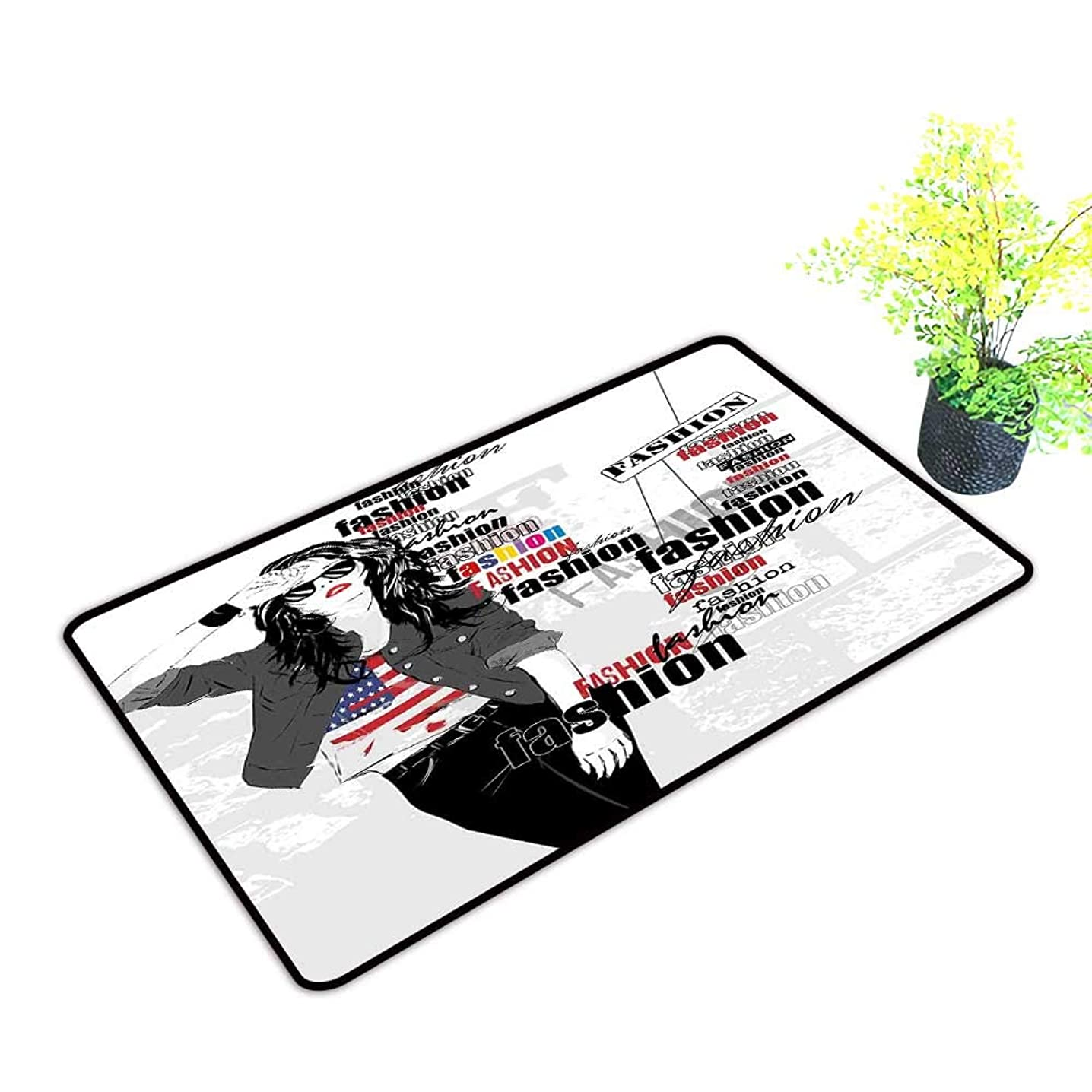 Zmstroy Welcome Door mat Girls A Modern Teen Girl with USA Flag T Shirt Fashion Obsession Beauty in The Street W24 xL35 Non-Slip Backing Black White Red