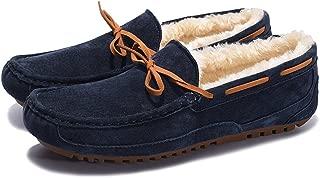 Coolloog Men's Moccasin Slippers Suede Shearling Vamp Fur Inner Slip On Indoor Outdoor Flat House Shoes