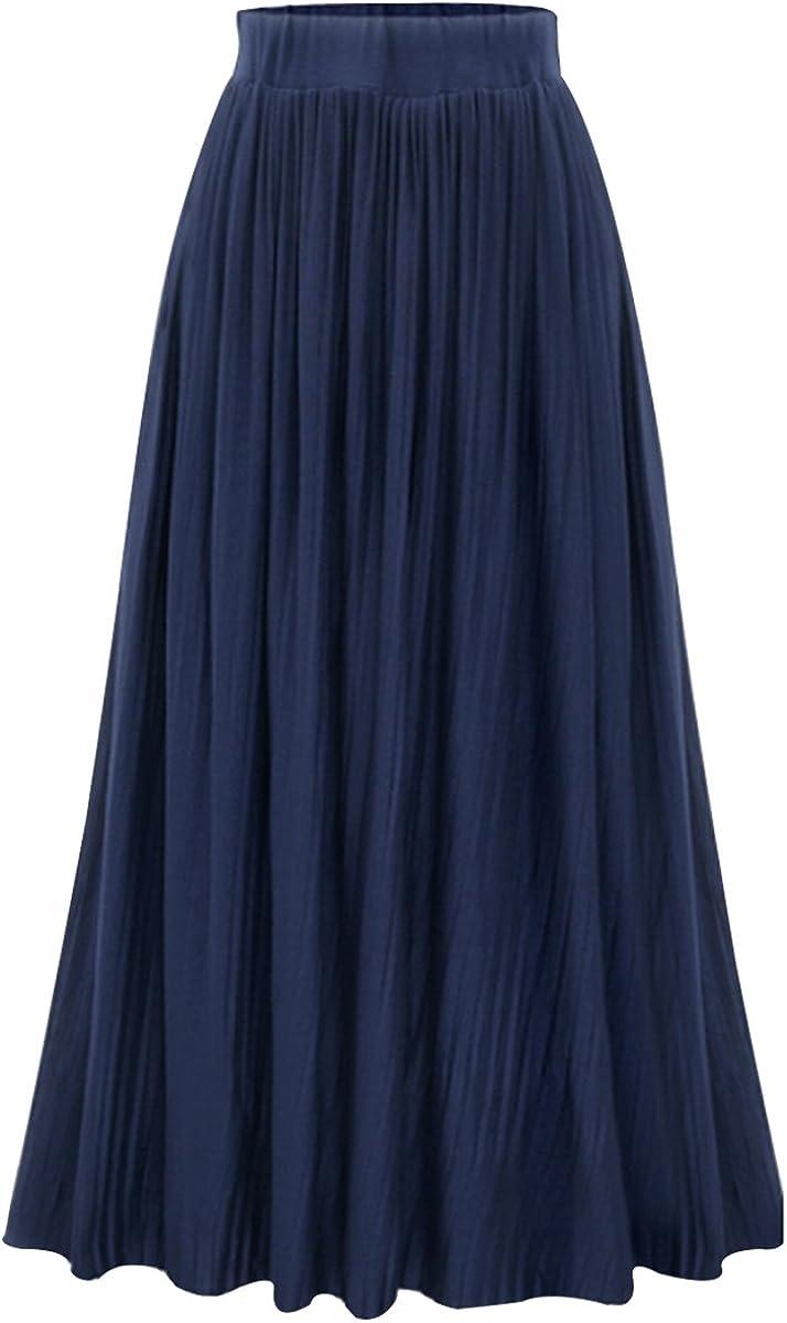 Meyaus Women High Elastic Waist A-Line Pleated Flared Maxi Long Skirt