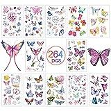 Tatuaggi Per Bambini 18 Fogli,Tatuaggi Temporanei Farfalle Impermeabile Tatuaggi Bambini Adesivi Per Bambini Bambina Ragazzi mareRegalo Pirati Festa Mare Di Compleanno Giocattolo Gadget