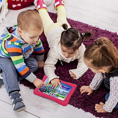 Pritom 7 Zoll Kindertablet, Quad Core Android, 1 GB RAM + 16 GB ROM, WiFi, Bluetooth, Dual Camera,Kindersicherung, Kindersoftware vorinstalliert mit Kindertablet-Hülle