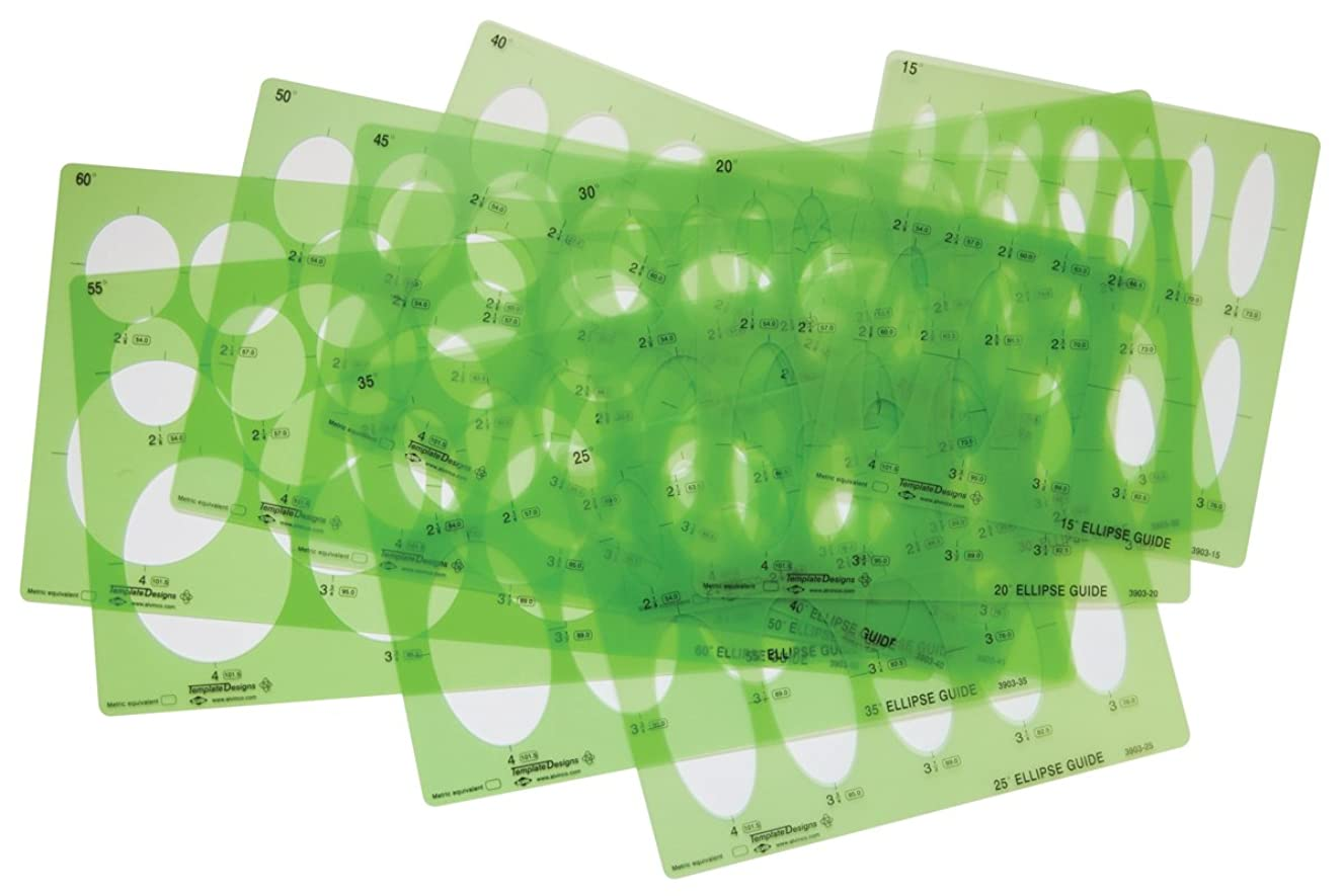 Alvin 3903-00 Large Series Ellipse Template Set of 10