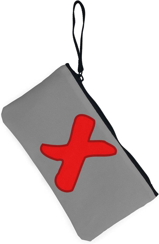 AORRUAM Red Fork X Canvas Coin Purse,Canvas Zipper Pencil Cases,Canvas Change Purse Pouch Mini Wallet Coin Bag