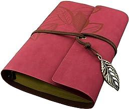 VORCOOL Capa de poliuretano com estampa de folhas de folhas soltas em branco bloco bloco de notas para diário de viagem – ...