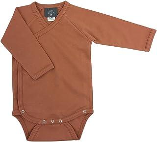 Kate Quinn Organics Unisex-Baby Long Sleeve Kimono Bodysuit, 12-18M (Caramel)