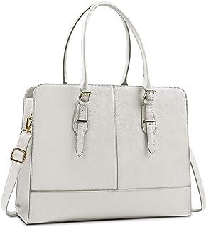Lubardy Handtasche Damen Shopper Damen Groß Wasserdicht 15.6 Zoll Leder Laptop Tasche für Büro Arbeit Business Schule Beige