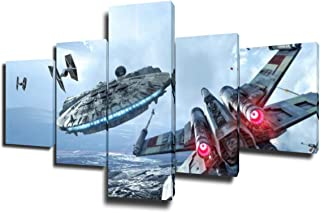 5 Piece Canvas Prints Vintage American US USA Fighter Bomber Head Propelle Canvas Wall Art Military Aircraft Painting Framed Ready to Hang Modern Living Room Farmhouse Ready to Hang(50''Wx24''H)