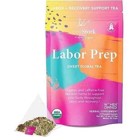 Pink Stork Labor Prep Tea: Sweet Floral, Red Raspberry Leaf Tea, Labor and Delivery + Postpartum Essentials, 30 Cups