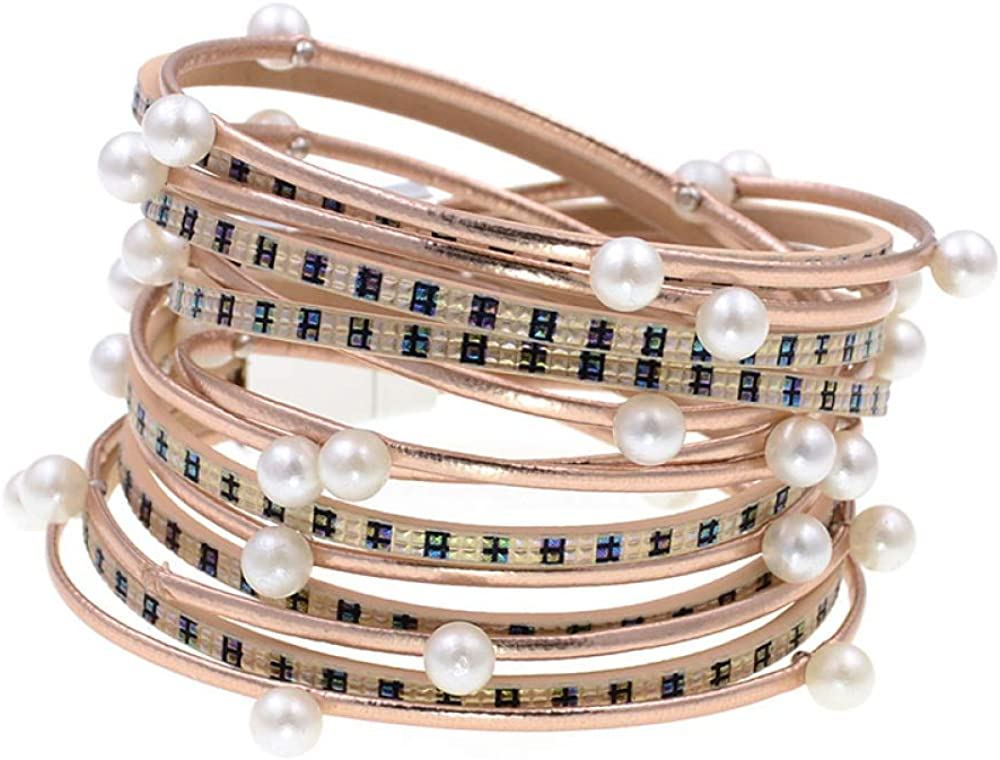 Leather Bracelet New Style Wrap 2 Laye Simulated Max 78% OFF quality assurance Bracelets Pearl