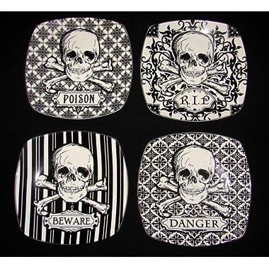 222 Fifth Halloween Skulls Crossbones 8  Salad Plates Graphic Black & White Porcelain, Set of 4 Designs: RIP, BEWARE, POISON, DANGER