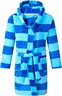 Kids Robe Soft Fleece Hooded Bathrobe Sleepwear for Girls Boys (Blue/Navy, 5T)