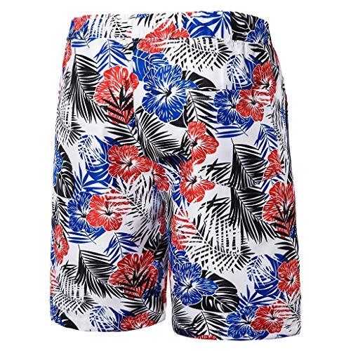 Herren Sommer Fashion Printed Strand Hosen und Shorts Komfortable Short Summer Printed Beach Pants Shorts Weiß M/L/XL/2XL/3XL/4XL/5XL