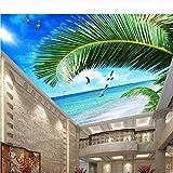 Hwhz Papel pintado mural 3d despegable Techo De Papel Tapiz Personalizado, Murales De Cielo Azul De Mar De Palma Para La Sala De Estar Techo Apartamento Hotel Fondo De Pantalla De Pared-400X280Cm
