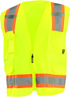 OccuNomix ECO-ATRANS-YM High Visibility Value Solid Two-Tone Zipper Surveyor Safety Vest, Class 2, 100% ANSI Polyester Tricot, Medium, Yellow