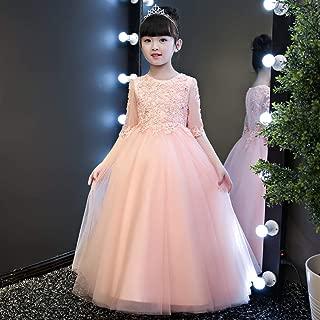 Luxury Pompon Princess Dress Girls Bouquet Beaded Long Section of Yarn Flesh Pink Flower Girl Dress Little Girls Host Costumes Western Style Piano Performances ryq