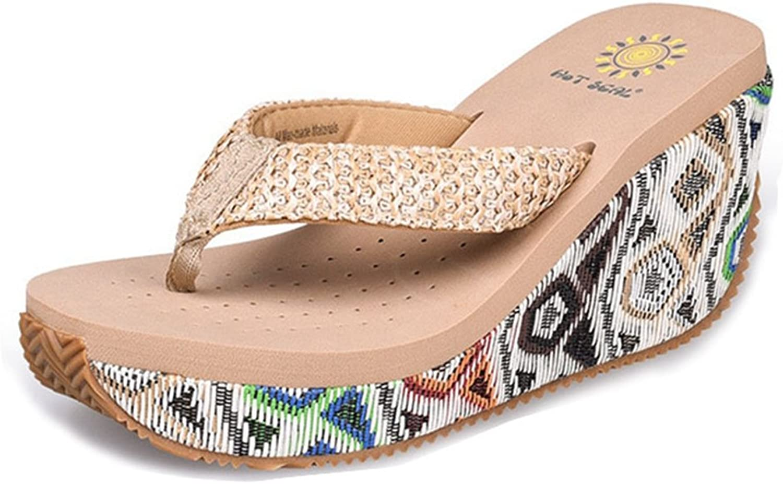 GIY Womens Slides Sandal Summer Beach Open Toe Flatform Anti-Slip Wedges Flip-Flops Platform Sandals