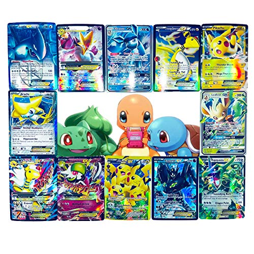 100 Poke Cards TCG Style Card Holo EX Full Art : 20 GX + 20 Mega + 1 Energy + 59 Ex Arts
