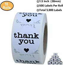 Aleplay 1.5 Inch Round Thank You Stickers with Black Heart 500 Adhesive Label Per Roll (10 Rolls)