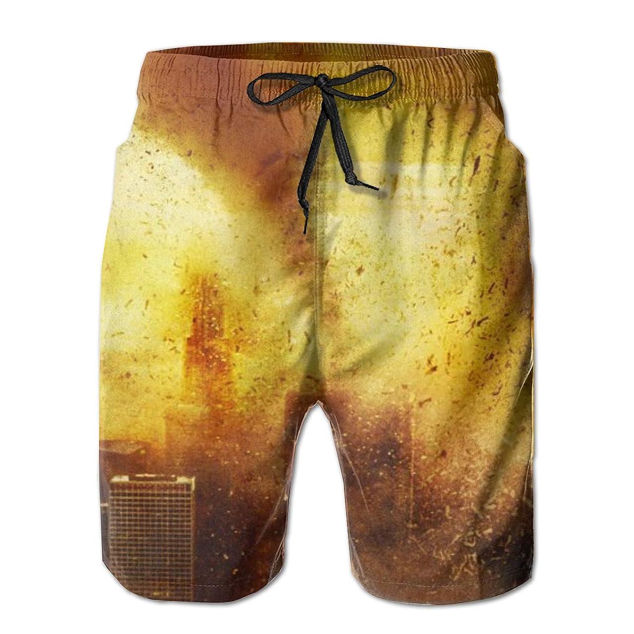 Quick Dry Men's Beach Shorts Tornado Destroy City Mesh Lining Surfing Swim Board Trunks with Pockets