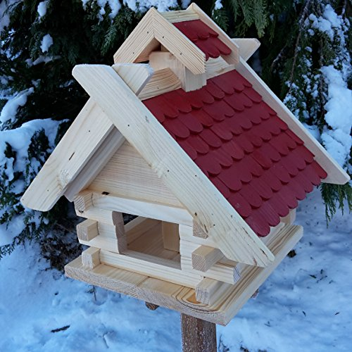 Vogelhaus Futterhaus Vogelhäuschen --Wetterschutz-- K Block Rot Holz Vogelhäuser