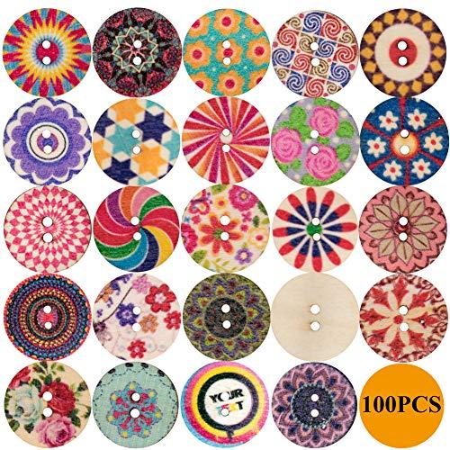 100PCS Botones de costura de madera impresos florales surtidos con patrón de estilo retro de color mixto Botones redondos hechos mano vintage para manualidades de bricolaje Manual 20mm 2 agujeros