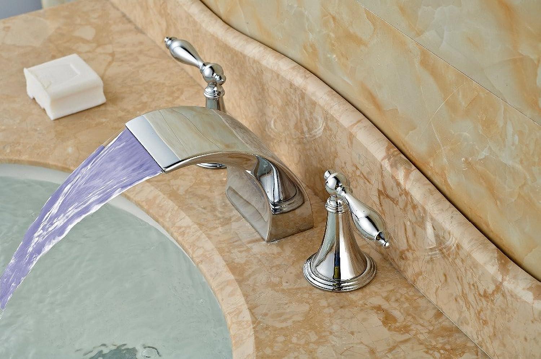 Retro Deluxe Fauceting LED verbreitete Messing verchromt Badezimmer Waschbecken Wasserhahn Double Handles Eitelkeit Mixer