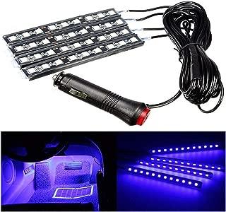 4pcs Car Interior Decoration, NERLMIAY Atmosphere Light-LED Car Interior Lighting Kit , Waterproof, Interior Atmosphere Neon Lights Strip for Car (blue)