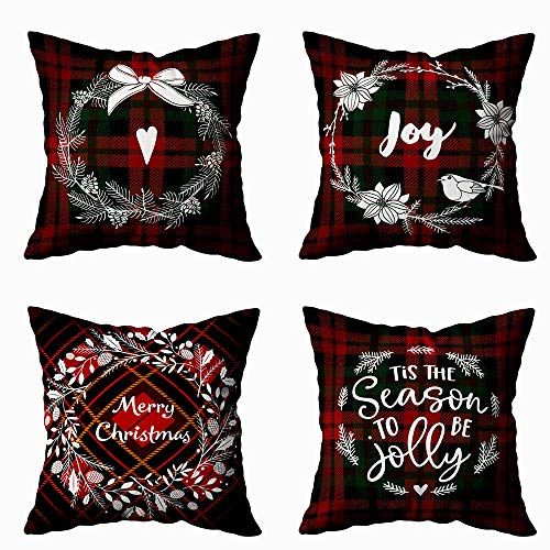 Kissenbezüge, Schneeflocken-Dekoration, 16 x 16 cm, mit Reißverschluss, Weihnachtsmotiv, Retro, für Zuhause, Sofa und Bettwäsche Baroque (Barockstil) 18X18 Set of 4 Mehrfarbig 2