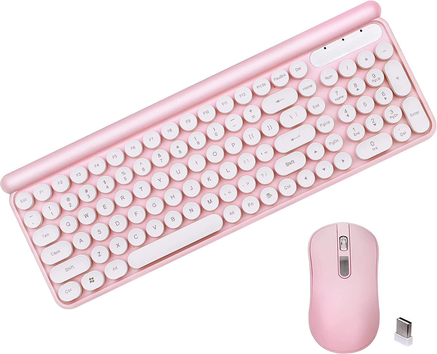 Wireless Keyboard and Mouse Combo, 2.4G Wireless Retro Circular Floating keycap, Suitable for PC, Windows, Laptop(Pink).