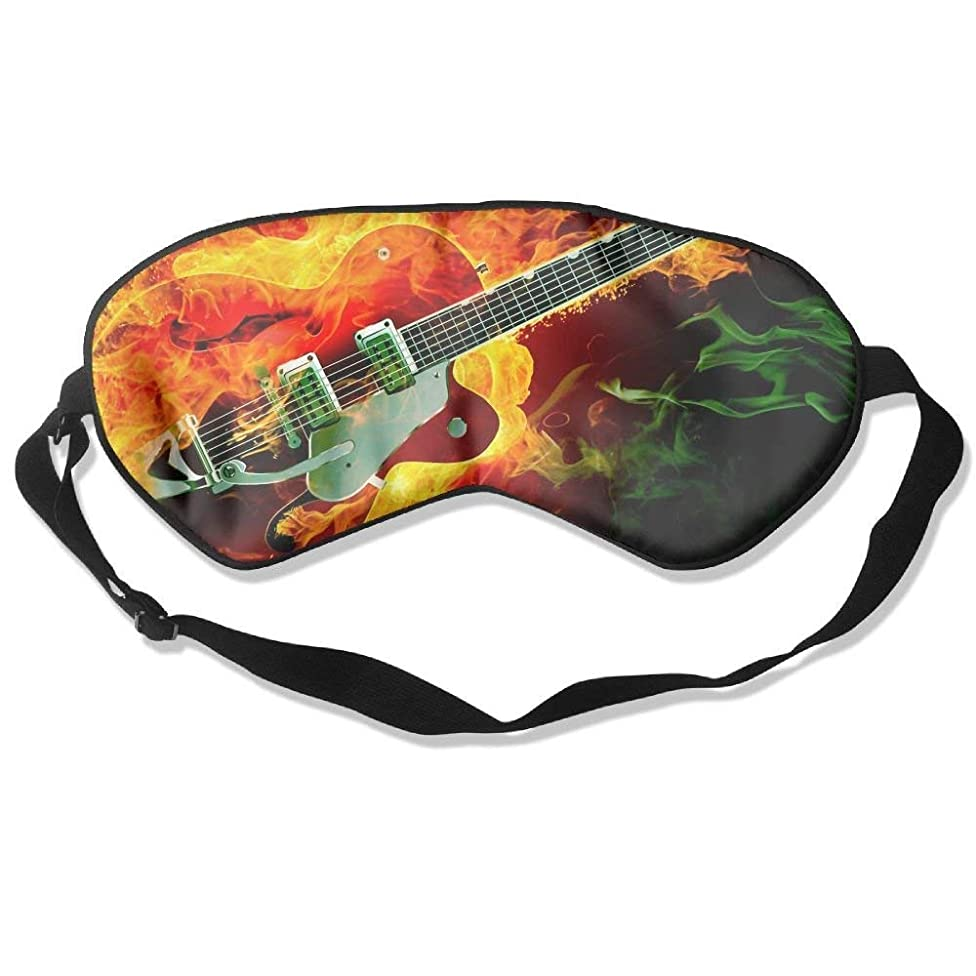 HANBINGPO Sleep Mask Guitar Fire Flames Adjustable Sleep Silkworm Eye Mask WhiteOne Size